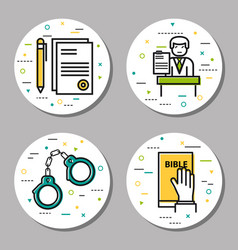 Four round law and judicial icons vector