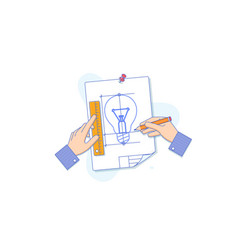 hand drawing light bulb on a sheet of paper flat vector image vector image