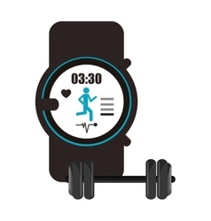 Heart rate wrist monitor and dumbbell icon vector