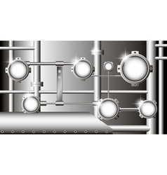 Industrial with metallic pipes and round devices vector