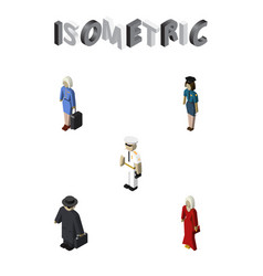 Isometric person set of detective seaman female vector
