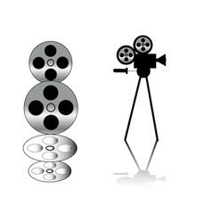movie camera and film strip vector image vector image
