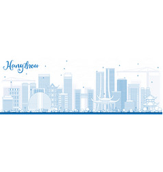 Outline hangzhou skyline with blue buildings vector