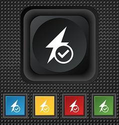 Photo flash icon sign symbol squared colourful vector