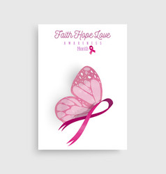 Pink breast cancer butterfly ribbon art poster vector