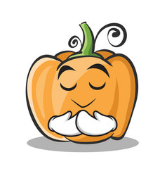 praying pumpkin character cartoon style vector image