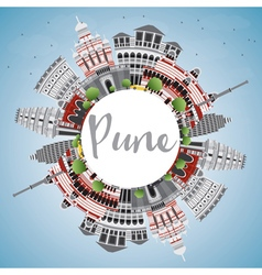 Pune skyline with color buildings vector
