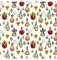 Seamless pattern with magic glass flasks science vector