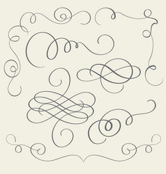 Set of art calligraphy flourish vintage decorative vector