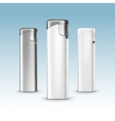 Set of Blank White Plastic Metal Lighters vector image vector image