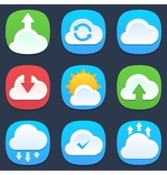 Set of clouds mobile icons in flat design vector image