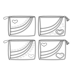 Set purses with valentine hearts outline vector image vector image