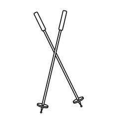 Sky sticks winter sport accessory elements vector