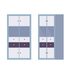 Storage cabinet office in blue vector