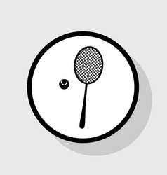 Tennis racquet sign flat black icon in vector