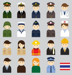 Various thai people and officer character icons vector