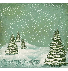 vintage postcard with christmas trees snow vector image vector image