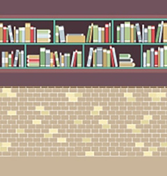 Vintage style bookshelf on brick wall vector