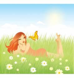 woman grass vector image vector image