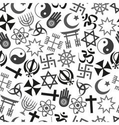 World religions symbols icons gray seamless vector