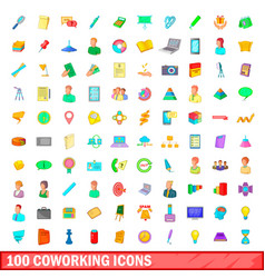 100 coworking icons set cartoon style vector