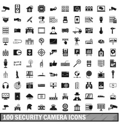 100 security camera icons set simple style vector