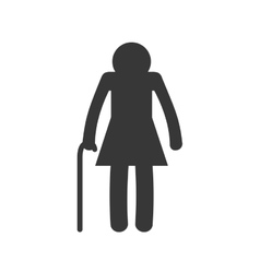 Old woman female pictogram silhouette icon vector