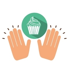 Two hands holding muffin vector