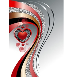 Pattern of hearts with bright curved strips on whi vector