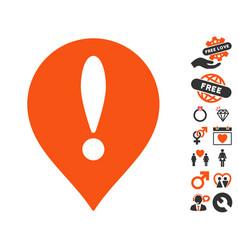 Danger map pointer icon with love bonus vector