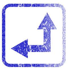 Bifurcation arrow left up framed textured icon vector