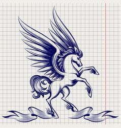 ballpoint pen sketch of pegasus vector image