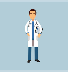male doctor character in uniform standing with vector image