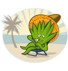 Agave plant cartoon sombrero hat martini beach vector