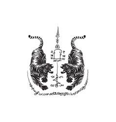 Tiger thai tradition tattoo vector