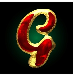 Golden and red letter g vector