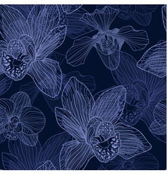 Orchid engraving seamless pattern vector image