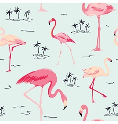 Flamingo bird background - retro seamless pattern vector