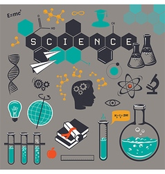 Science icons set on gray background vector