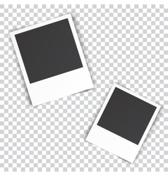 Two blank photo pinned on white wall vector