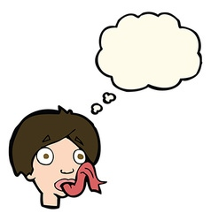 Cartoon head sticking out tongue with thought vector