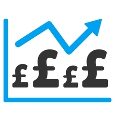 Pound financial graph flat icon symbol vector