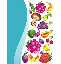 Fresh juicy fruits on white backgrou vector