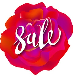 Pretty flower red roses text sale lettering vector