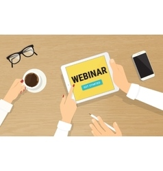 Human hands hold a tablet pc with webinar vector
