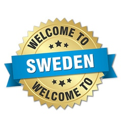 Sweden 3d gold badge with blue ribbon vector