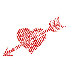 Arrow heart fabric textured icon vector