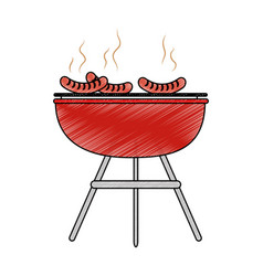 bbq grill sausages vector image