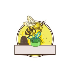Bee carrying gift box skep circle drawing vector