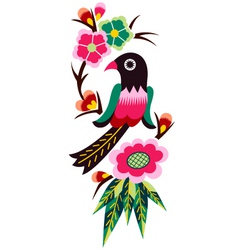 bird and flower emblem graphic vector image